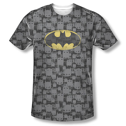 Batman Black Caped Crusader Repeat Sublimation Tee Shirt