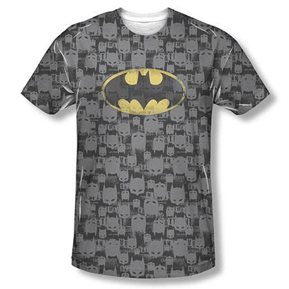Batman Black Caped Crusader Repeat Sublimation Tee Shirt
