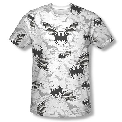 Batman Bat Flight White Sublimation Tee Shirt