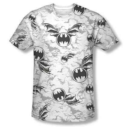 Batman Bat Flight White Sublimation Tee Shirt