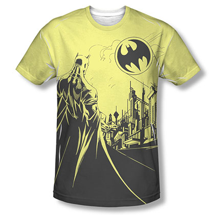 Batman Men's Yellow Bat Signal Sublimation Tee Shirt