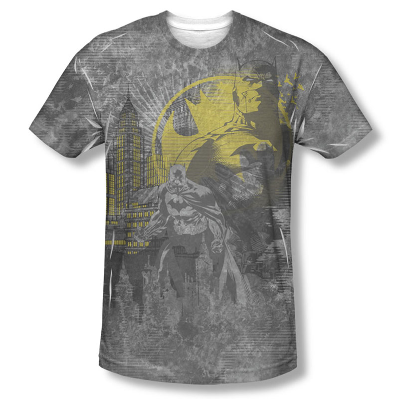 Batman Dark City Gray Sublimation Tee Shirt