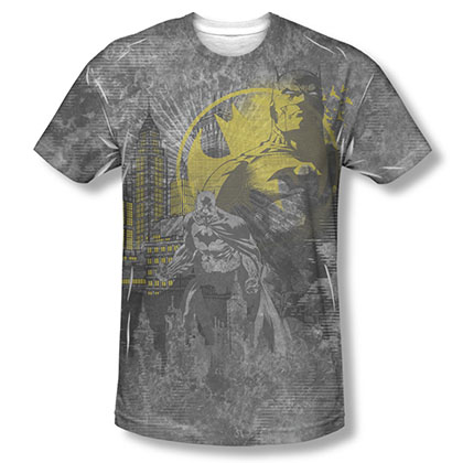 Batman Men's Gray Dark City Sublimation T-Shirt