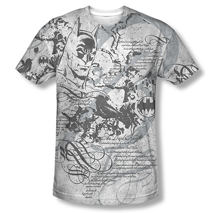 Batman Men's Gray Sublimation Tale Of The Dark Knight Tee Shirt