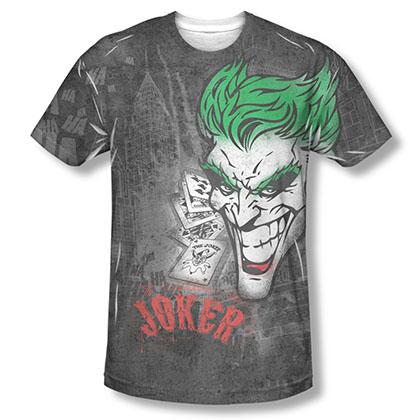 Batman Joker Sprays City Sublimation Black Tee Shirt