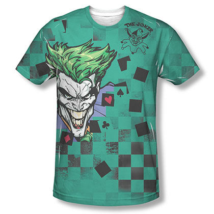 Batman Men's Green Sublimation Joker Boxed Clown Tee Shirt