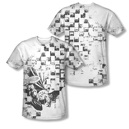 Batman Checkerboard White Sublimation Tee Shirt