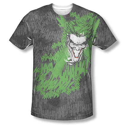 Batman Joker Men's Black Sublimation What's So Funny Tee Shirt