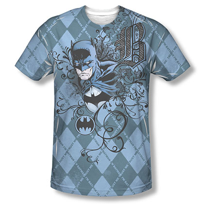 Batman Argyle Blue Sublimation Tee Shirt