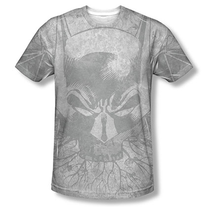 Batman Men's Gray Sublimation Rooted Bat Skull Tee Shirt