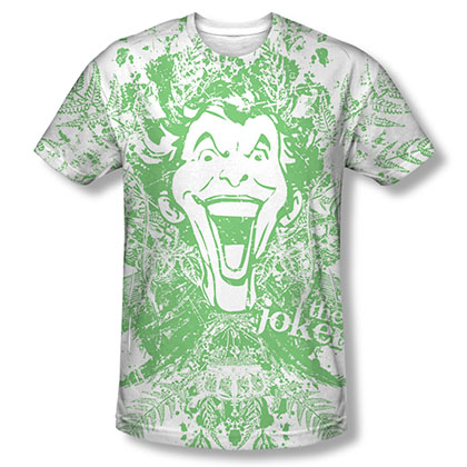 Batman Men's White Sublimation Joker In The Wild Tee Shirt