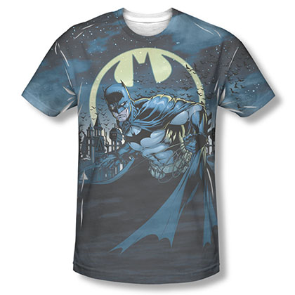 Batman Men's Blue Sublimation Heed The Bat Signal Tee Shirt