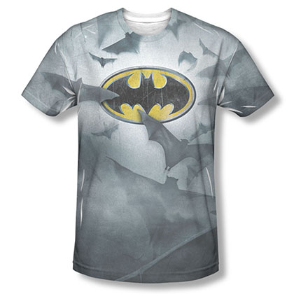 Batman Men's Gray Sublimation Foggy Logos T-Shirt