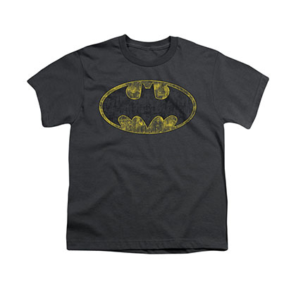 Batman Tattered Logo Gray Youth Unisex T-Shirt