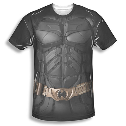 Batman Men's Black Sublimation Costume Tee Shirt