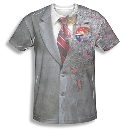 Batman Men's Gray Two Face Sublimation Costume Tee Shirt
