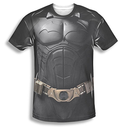 Batman Begins Men's Black Sublimation Costume Tee Shirt