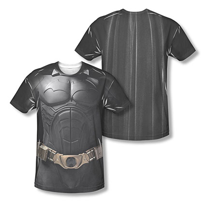 Batman Begins Two-Sided Men's Black Sublimation Costume Tee Shirt
