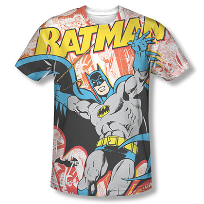 Batman Men's White Comic Cover Sublimation Tee Shirt