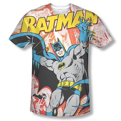 Batman Men's White Comic Cover Sublimation Tee Shirt