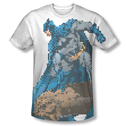 Batman Men's White 8 Bit Pixel Sublimation Tee Shirt