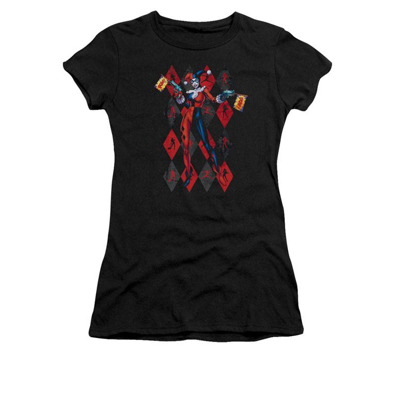 Batman Harley Quinn Pow Black Juniors T-Shirt