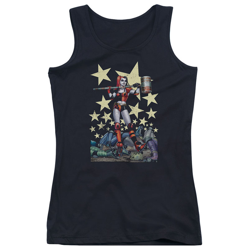 Batman Harley Quinn Hammer Time Black Juniors Tank Top