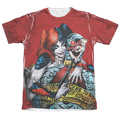 Batman Harley Quinn Juniors Sublimation Crime Scene T-Shirt