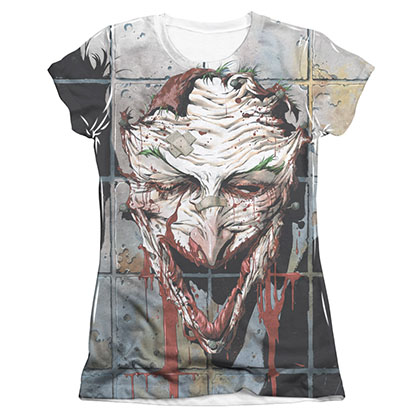 Batman Joker Smile Sublimation Juniors Tee Shirt