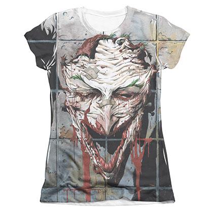 Batman Joker Smile Sublimation Juniors Tee Shirt