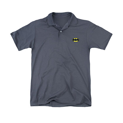 Batman Embroidered Logo Men's Gray Polo Shirt