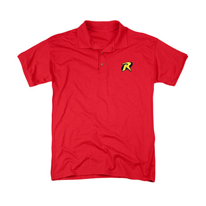 Batman Robin Embroidered Logo Red Polo Shirt