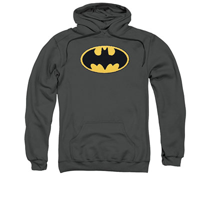 Batman Gray Embroidered Pullover Hoodie