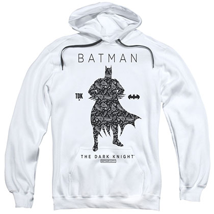 Batman Paisley Silhouette White Pullover Hoodie