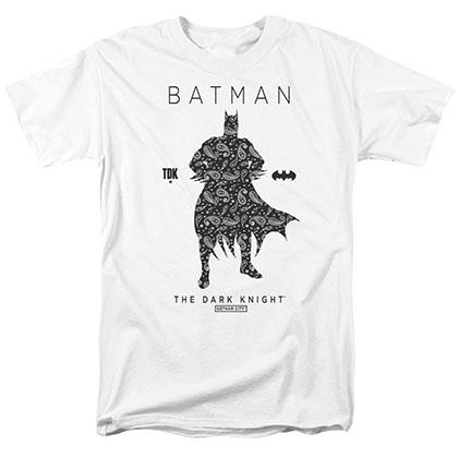 Batman Paisley Silhouette White T-Shirt