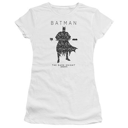 Batman Paisley Silhouette White Juniors T-Shirt