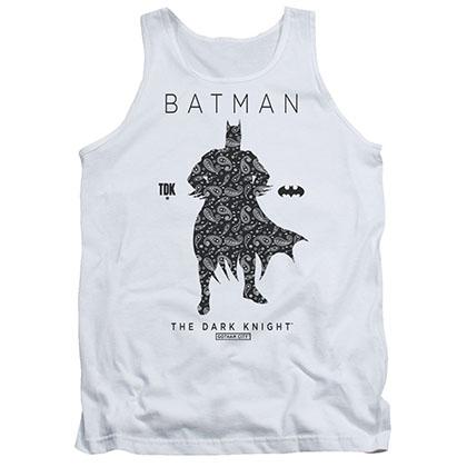 Batman Paisley Silhouette White Tank Top