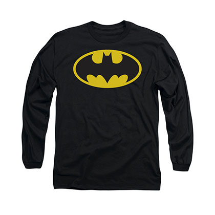 Batman Classic Logo Black Long Sleeve T-Shirt