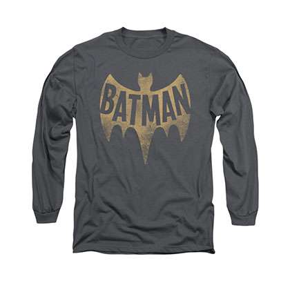 Batman Classic TV Logo Gray Long Sleeve T-Shirt