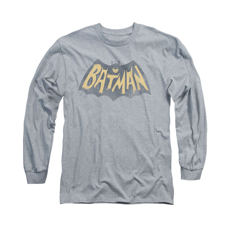 Batman Classic TV Show Logo Gray Long Sleeve T-Shirt