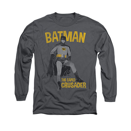 Batman Classic TV Caped Crusader Gray Long Sleeve T-Shirt