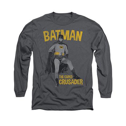 Batman Classic TV Caped Crusader Gray Long Sleeve T-Shirt