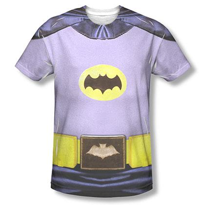 Batman Men's Gray Classic TV Costume Sublimation Tee Shirt