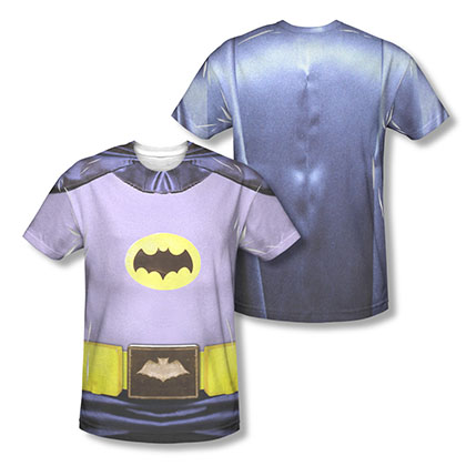 Batman Men's Gray Classic TV Costume Two-Sided Sublimation Tee Shirt