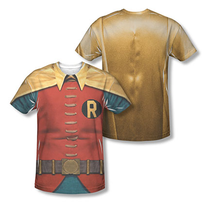 Batman Men's Red Classic TV Robin Two-Sided Sublimation Costume T-Shirt