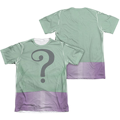 Batman Men's Classic TV Riddler Two-Sided Sublimation Costume Tee Shirt
