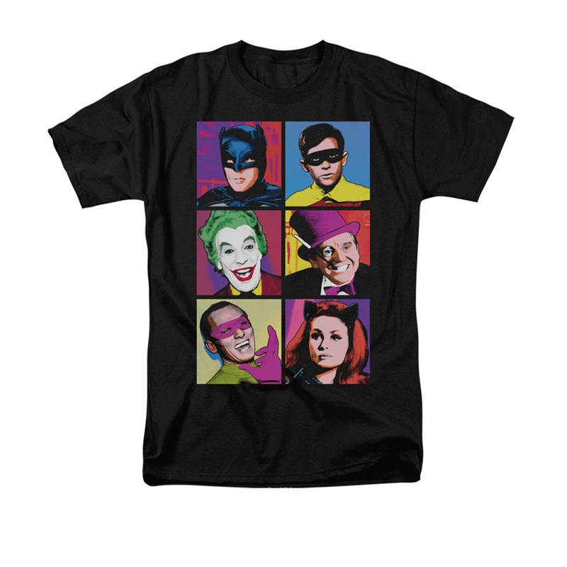 Batman Men's Black Classic TV Pop Cast T-Shirt