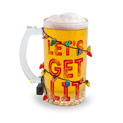 Let's Get Lit Holiday Beer Glass