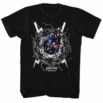 Bill And Ted Back To Time Black Tee Shirt