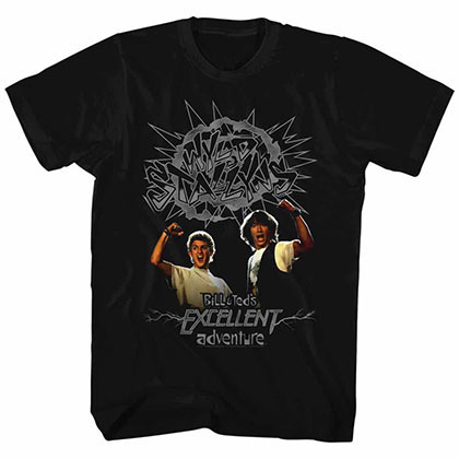 Bill And Ted Gray Wyld Stalyns Black Tee Shirt